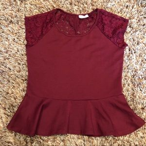 Poetry - maroon lace back shirt size XL